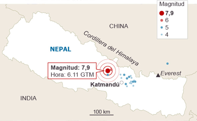 Mapa del terremoto de Nepal 2015