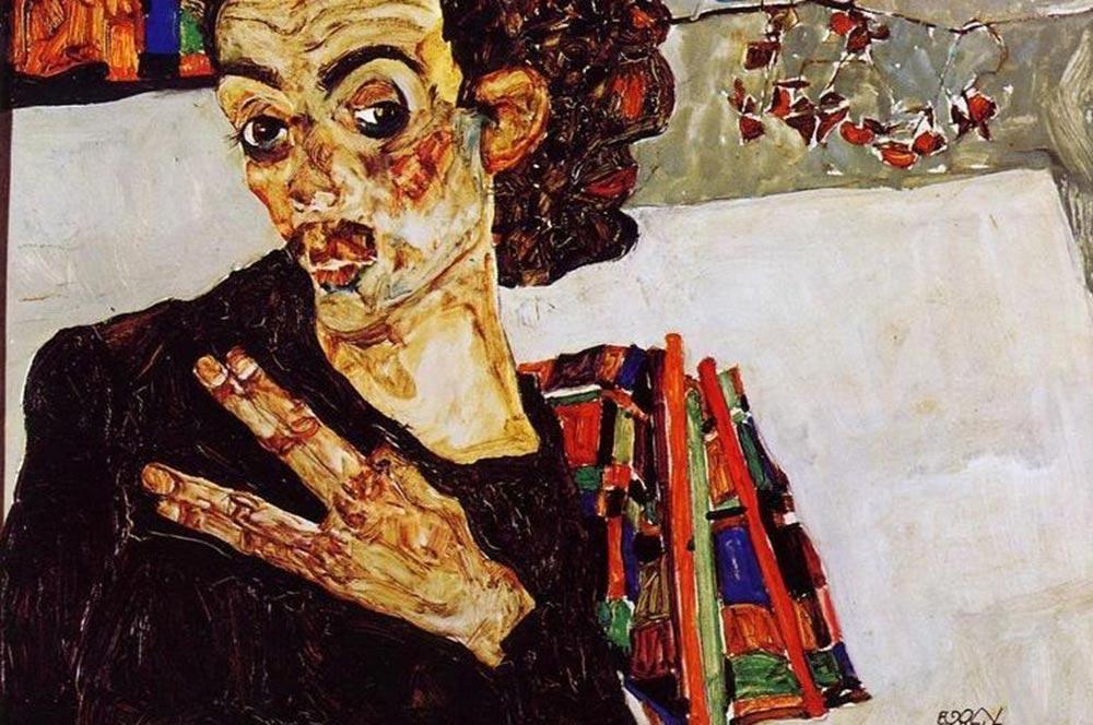 Egon-Schiele-Self-Portrait-With-Black-Vase-And-Spread-Fingers-large