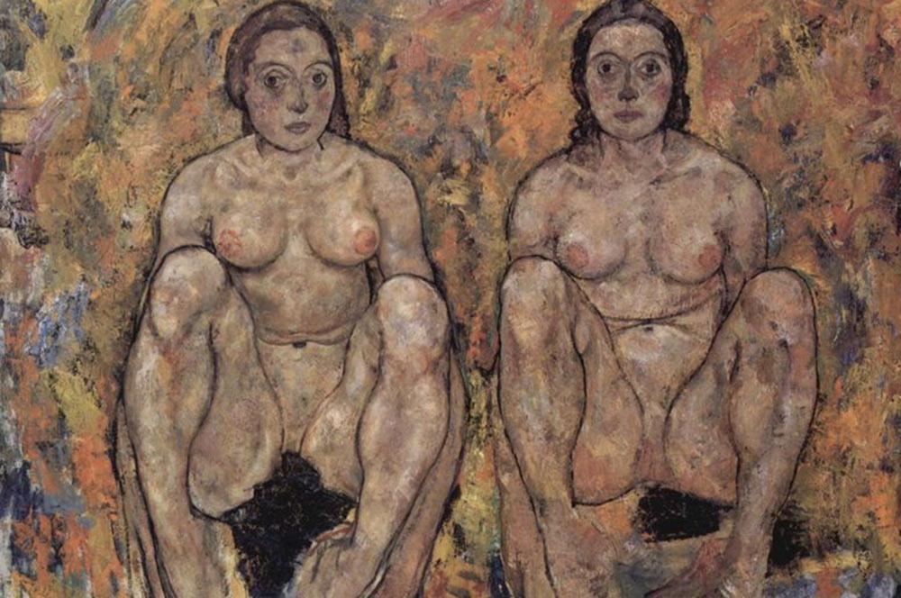 Egon-Schiele-Squatting-women's-pair-large