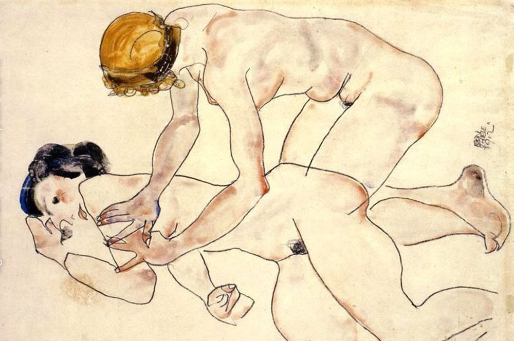 Egon-Schiele-Two-Female-Nudes--One-Reclining--One-Kneeling-Aka-The-Friends-large